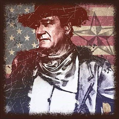 John Wayne Stars and Stripes 15 x 15 Stretched Canvas Western Wall Art UNUSED