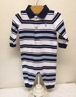 NEW Ralph Lauren Infant Boys Navy Blue Stripe One Piece Long Sleeve Longall 9M