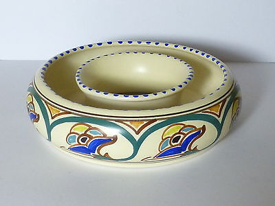 Honiton Pottery Posy Ring Vase With Vibrant Floral Decoration