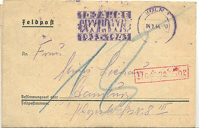 Germany entire 1944 stampess Felpost card from Cologne