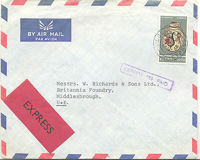 Cyprus 1968 Express Fee Paid cover to Middlesbrough
