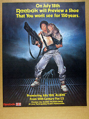 1986 Reebok Aliens Stomper Fighter Shoes ripley art vintage print Ad