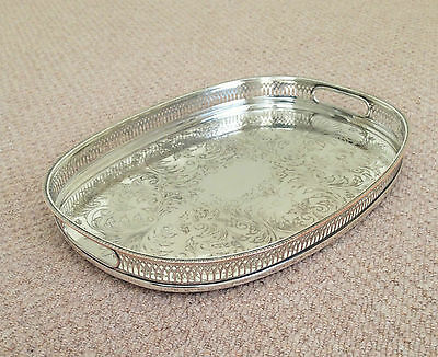 """A Cavalier English-Made, Silver-Plated, 16.25"""" Wide, Oval-Shaped Gallery Tray"""