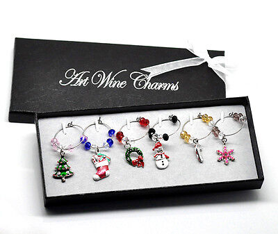 Box Set Of 6 Christmas Wine Glass Charm Table Decorations Including Gift Box
