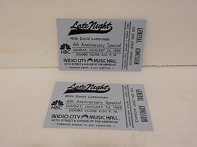 David Letterman Late Night NBC Radio City tickets 6th ANNIVERSARY SPEC JAN 1988