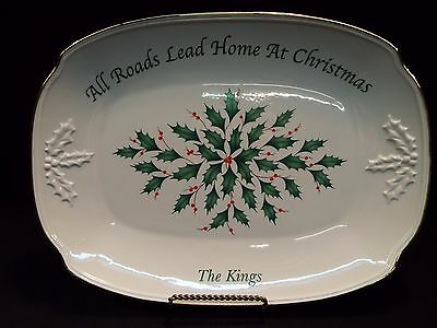 """Lenox Holiday 14"""" Platter """"All Roads Lead to Home At Christmas"""""""