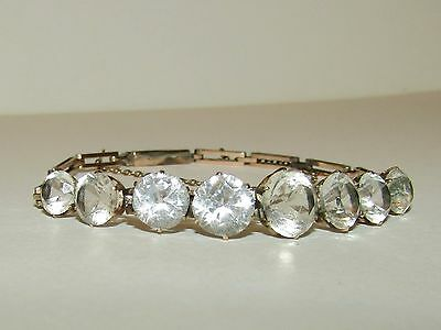 Fine, Antique, 9 Ct Gold Bracelet With Beautifully Cut Rock Crystal Gems