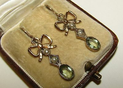 Charming, Victorian, 9 Ct Gold Bow Earrings With Fine Peridot And Seed Pearl