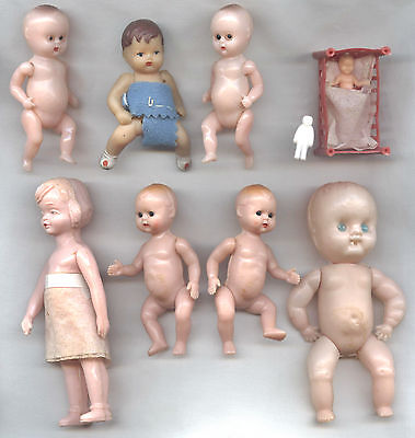 Small Plastic DOLLS x8 assorted lot - mostly babies