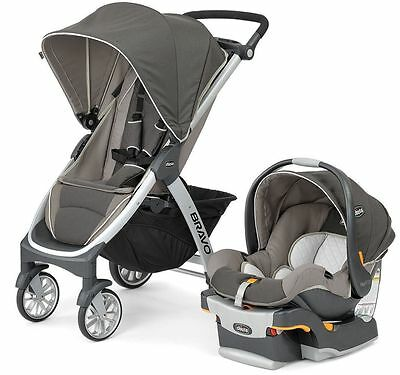 Chicco Bravo Trio 3-in-1 Baby Travel System Stroller w/ KeyFit 30 Papyrus NEW