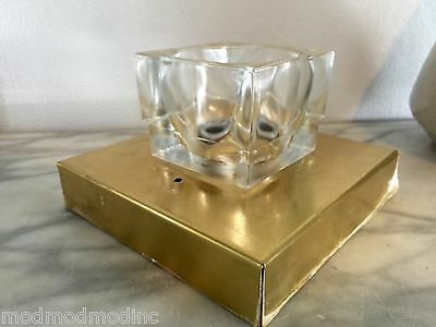 Lightolier Sciolari Glass Cube Brass Light Sconce Ceiling Fixture Mid Century A1