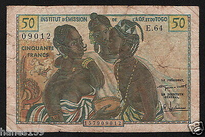 FRENCH WEST AFRICA (P45) 50 Francs ND(1956) VG+
