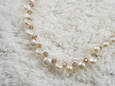 Cultured Freshwater Pearl & Crystal Bead Necklace  (D25)