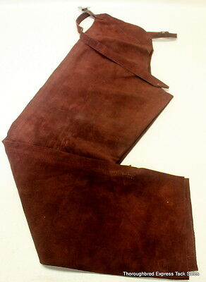 Suede Schooling Chaps Brown XL or Theatrical/Reenactment Use Horse Tack