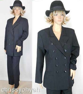 VTG 80s Blk Pinstripe Double Breasted Jacket Blazer Gangster Menswear Pant Suit