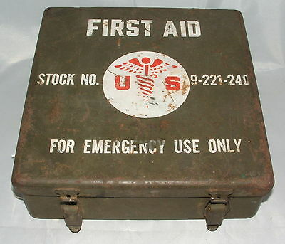 First Aid Stock No. 9-221-240 Metal First Aid Kit, Empty, Korea War Vehicle