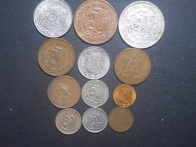 3284 - Mexico - Twelve Different Coins Dtd 1906 To 1975