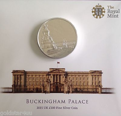 2015 One Hundred Pound £100 Silver Proof Coin Coin BUNC Buckingham Palace
