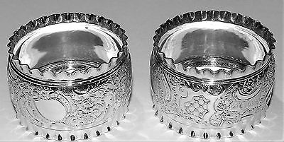 Pair Ornate Silver Plated Napkin Rings Super Bright Undamaged Condition