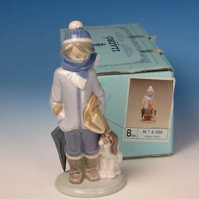 Lladro Porcelain Figure with Box - Winter - Boy with Dog and Snow #5220