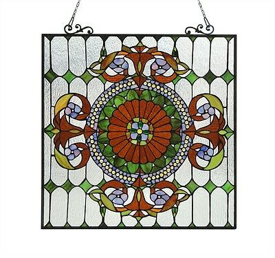 "Colorful Handcrafted Tiffany Style Stained Cut Glass Window Panel 25"" X 25"""
