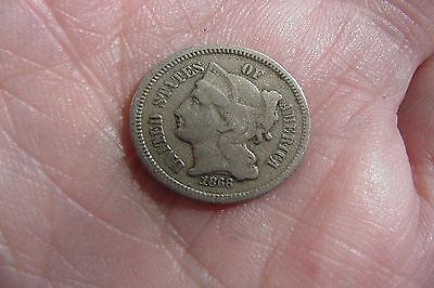Lot # 7589 Nickel 3Cent 1868 In Very Good Condition