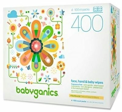 Babyganics Face, Hand and Baby Wipes, Fragrance Free, 400 Count (Contains Four