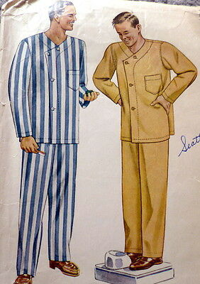 VTG 1940s MENS PAJAMAS Sewing Pattern LARGE CHEST 42-44