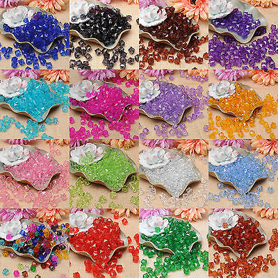 100pcs Clear Square Faceted Acrylic Crystal Spacer Beads Jewelry Making 10mm H