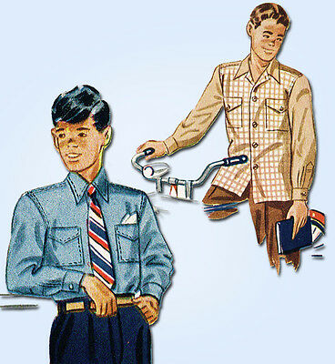 1940s Vintage Simplicity Sewing Pattern 2049 Uncut Toddler Boys Shirt Size 4