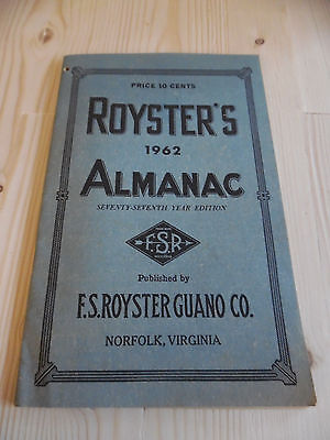 Royster's Almanac 1962 77th year edition F.S. Royster Guano Co