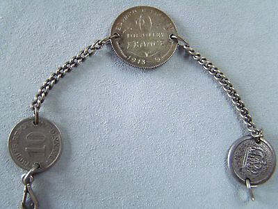 WWI TRENCH ART 1918 Silver Coin & Button Bracelet