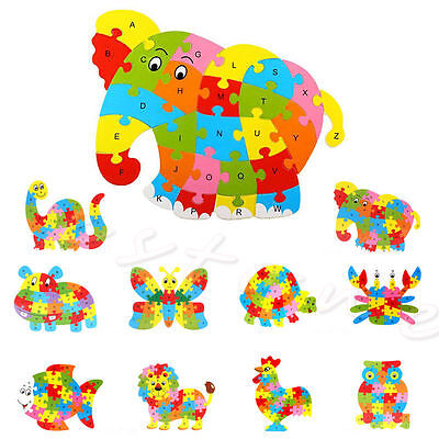 Baby Kids Wooden Animal Puzzle Numbers Alphabet Jigsaw Learning Educational Toy