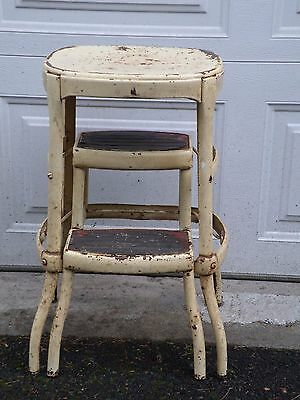 Vintage Cosco Mid Century Step Stool Chair With Pull Out Steps