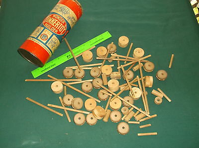 Vintage Antique Tinkertoy Wonder Builder Tube Can of Spools and Sticks