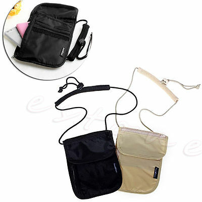 New Secure Passport Neck Pouch Money Cord Clothes Wallet Organizer Holder Bag