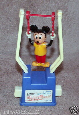 1977 Mickey Mouse Tricky Trapeze Push Button Acrobat Toy - Working