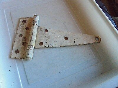 """Barn Door Hinge Vintage 9 Hole Has Been Painted White10 By 5.5"""""""
