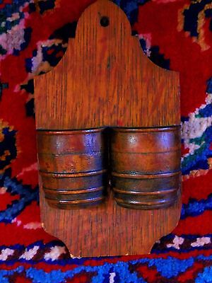 ANTIQUE c1880 OAK WOOD MATCH HOLDER DOUBLE BARREL WALL POCKET PRIMITIVE COUNTRY