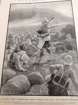 M62a 1900 Book Plate Folded Boer War A Piper At Magersfontein Corporal Mckay