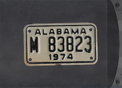 """ALABAMA 1974 license plate """"M 83823"""" ***MINT***MOTORCYCLE***"""