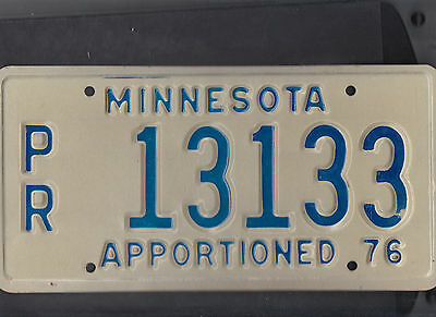 "MINNESOTA 1976 license plate ""PR 13133"" ***MINT***APPORTIONED***"