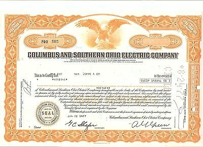 Alte Aktie USA Stock Wertpapier Columbus and Southern Ohio Electric Company 1977