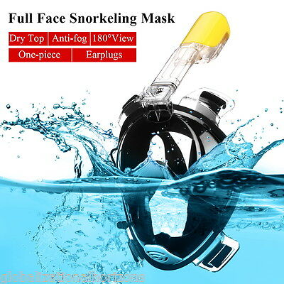 S/M Full Face Snorkeling Snorkel Mask Diving Goggles W/ Breather Pipe For GoPro