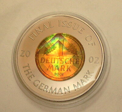 Congo 5 Francs 2002 Kongo 1 DM Gold-Mark 2001 letzte Mark Prisma-Hologramm