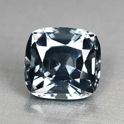 1.52Cts Splendid Cushion Cut Natural Steel Gray Spinel Video In Description