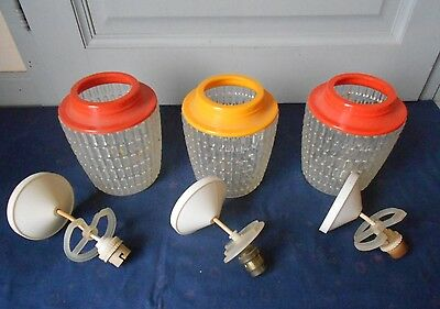 3 Vintage french Mid century Ceiling light Fixtures / sixties