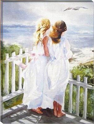 Painting by Number kit Nice Back Girls On The Terrace Lady Sisters Dress HT7059