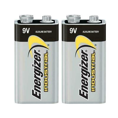 2x Energizer 6LR61 Industrial 9 Volt Batteries Long-lasting Alkaline Battery