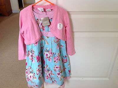 New With Tags Pink & Blue Floral Dress With Pink Cardigan By Next In Size 3-4Yrs